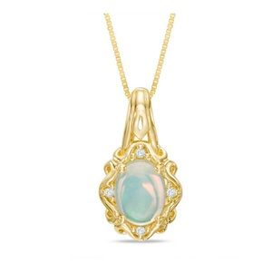 Opal and diamond pendant in 10k gold